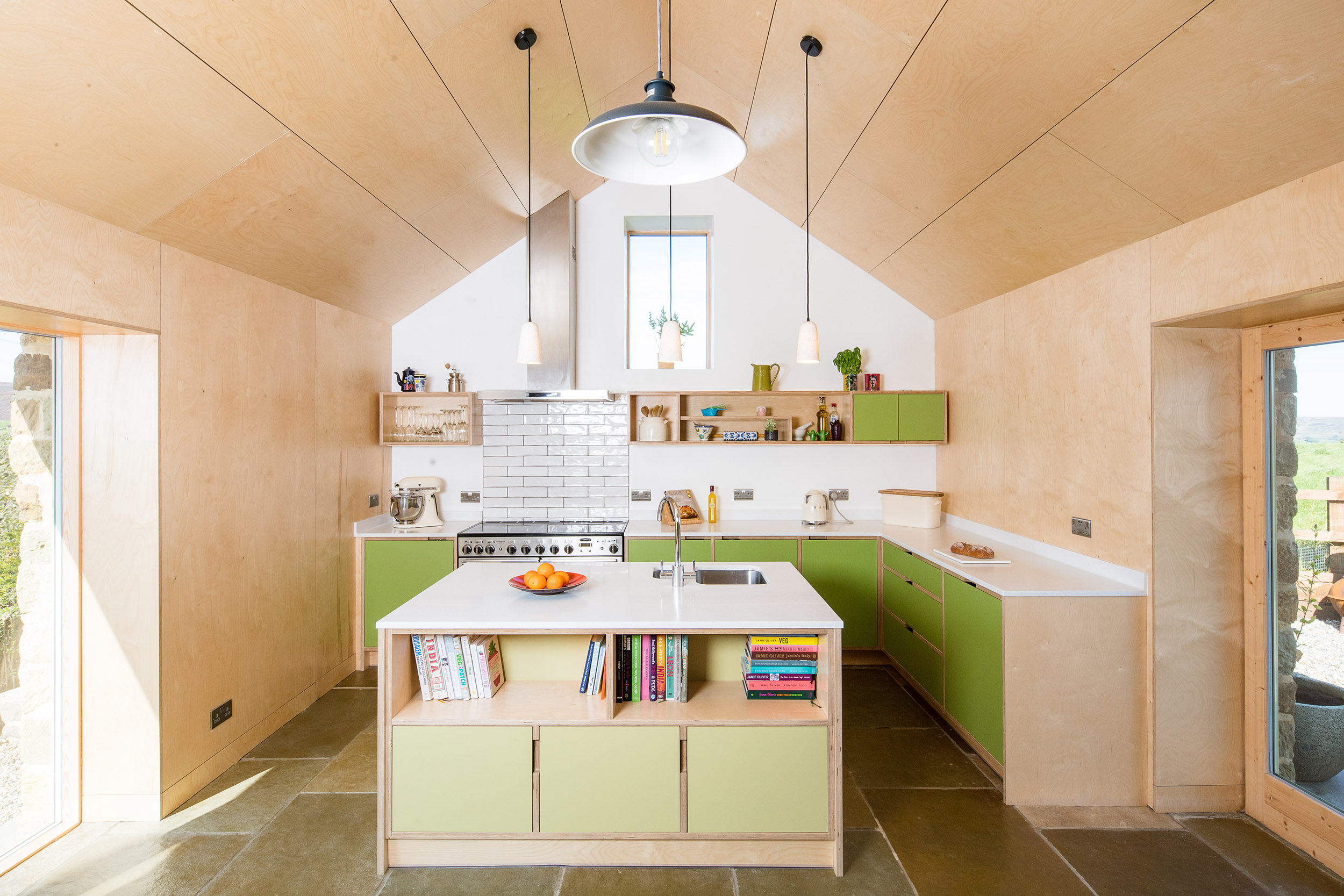 harper-perry-architects-housing-barn-westerdale-north-yorkshire-interior-plywood-island-kitchen