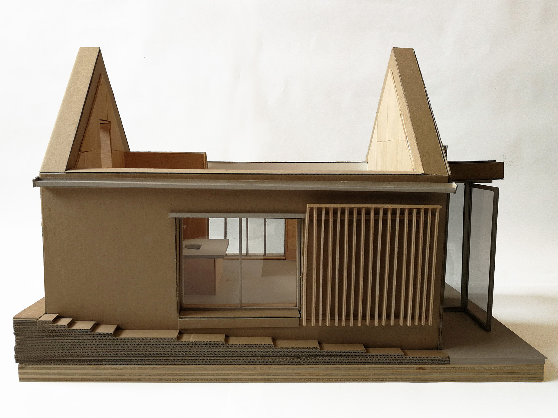 harper-perry-architects-barn-conversion-model-development-internal-layout-open-kitchen-side-elevation
